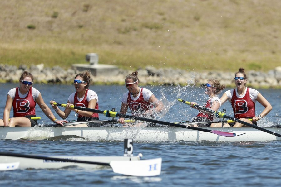 SARASOTA, FL - MAY 29: Bates College celebrates winning the I Eights Grand Final during the Division III Rowing Championship held at Nathan Benderson Park on May 29, 2021 in Sarasota, Florida. (Photo by Justin Tafoya/NCAA Photos via Getty Images)