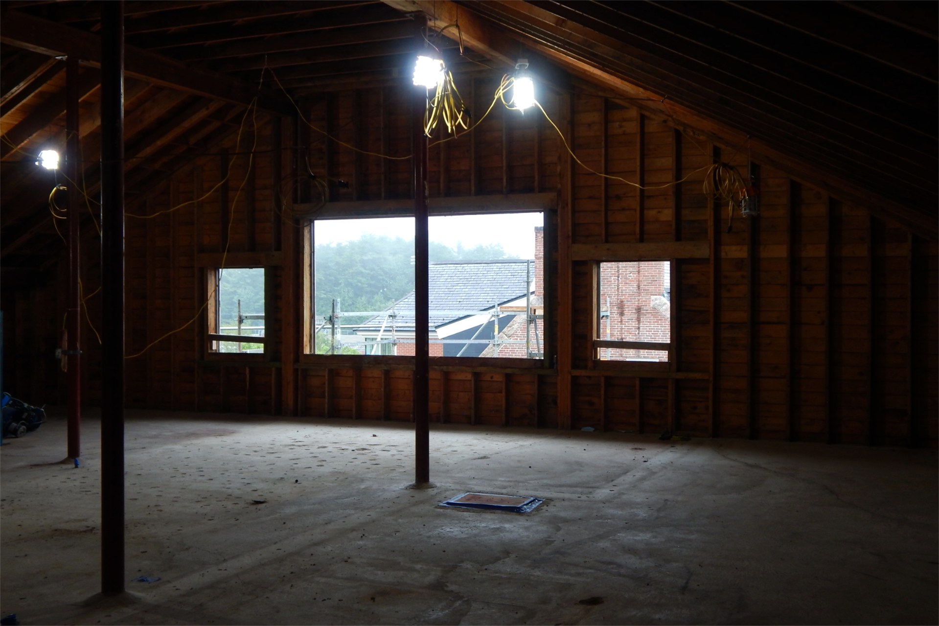 Formerly used for storage and for HVAC and other building-systems machinery, the attic of Dana Chemistry Hall is ready for renovation and the installation of new building systems in this Aug. 23 image. (Doug Hubley/Bates College)