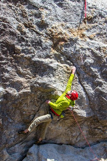 Callum Douglass '16 on the deadpoint below the upper crux