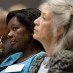 President Elaine Tuttle Hansen (right) and educational consultant Blenda Wilson (left), former president and CEO of the Nellie Mae Education Foundation, listen to Merisotis' report on diversity and demographics.