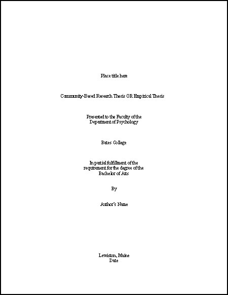 Thesis Title Page Template | Psychology | Bates College