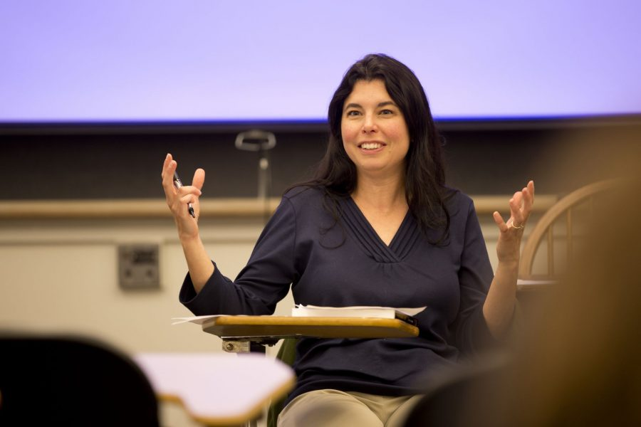 """Lecturer in Psychology Rebecca Fraser-Thill, director of program design, purposeful work leads students in Psych 235/Abnormal Psychology in a discussion on anxiety. This course is part of the Purposeful Work Infusion Project which exposes Bates students to worlds of work, questions of identity and purpose, and reflection on decision-making about work through curricular and co-curricular infusions. Curricular infusions occur in """"Purposeful Work Infusion courses,"""" which bridge the gap between course content and """"work"""" (broadly defined)."""