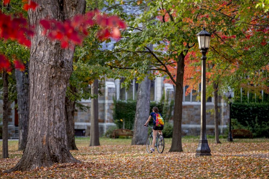Fall foliage brightens the Historic Quad.