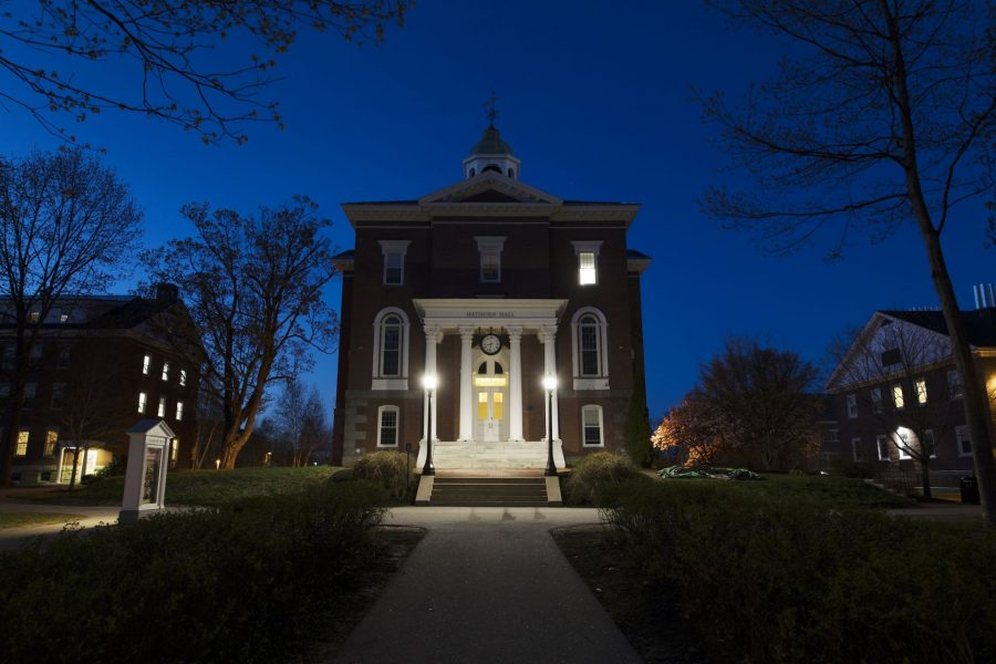 Hathorn Hall at dusk