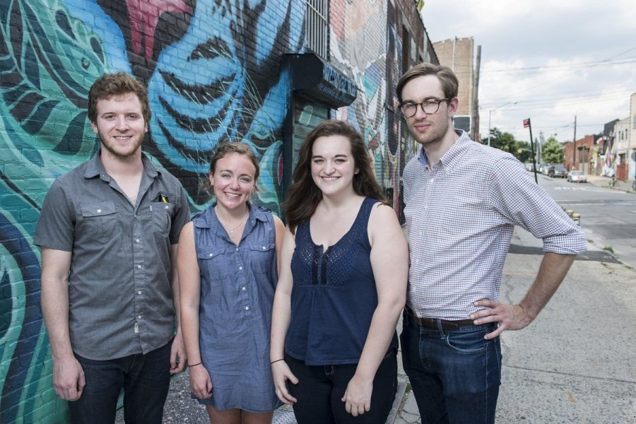 """Ryan Novas '11, Jane Spardel '17, Rebeccah Bassell '16, and Peter Gault '11 of Quill. Gault shares: """"Our Bates interns demonstrated a passion and commitment to education. Thanks to their creativity and critical thinking skills, they were able to produce fantastic educational resources. """""""