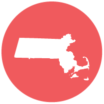 state of Massachusetts round icon
