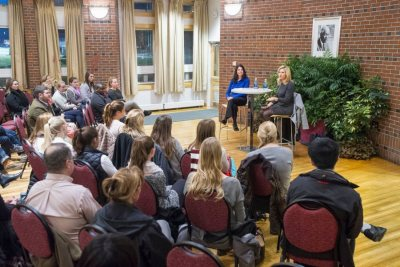 Peggy Koenig P'17, private equity co-CEO at ABRY Partners sits down for an interview with Rebecca Fraser-Thill, Director of Program Design for the Purposeful Work initiative and Lecturer in Psychology, at the Mays Center Nov. 11th.