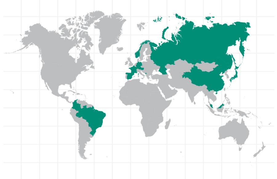 Bates Graduates' International Location Map
