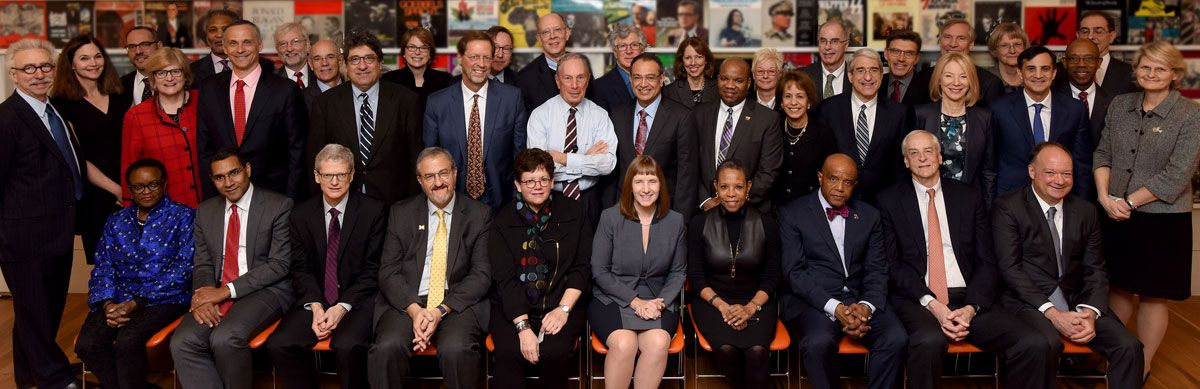 The Presidents of the ATI consortium institutions, February 22, 2016. Bates President Clayton Spencer is standing fourth from the left.