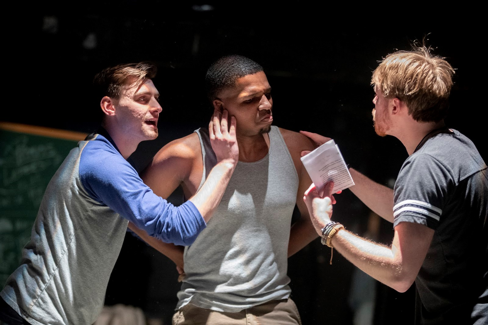 Jack Willis '19 Acting Thesis, Michael Driscal '19, Ethan Winglass Acting Thesis '19-We Are Proud to Present… Photo Credit: Phyllis Graber-Jensen.