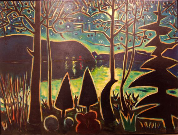 Moonrise, Hancock Point, 1990, Philip Barter (1939 United States), 36 7/8 x 48 inches, Gift of Bob and Margee Kinney