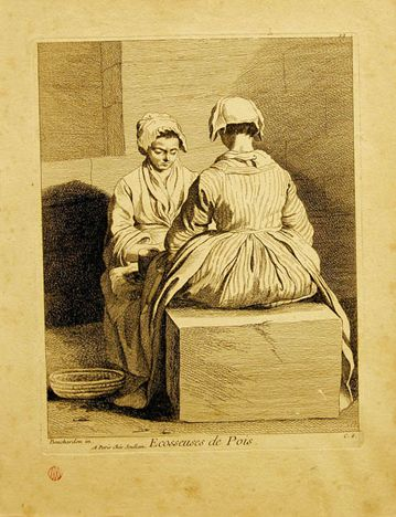 Ecosseuses de Pois, Anne-Claude-Philippe de (after Antoine Watteau) (1698-1762 France), 9 3/8 x 7 3/8, Engraving, Gift in Honor of Margaret Crawford
