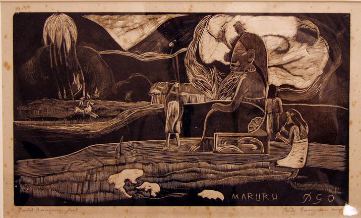 Maruru, Paul Gaugin, Wood Engraving in basswood, print, 1989.9.4