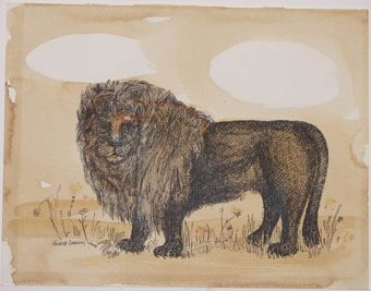 Untitled Lion, Bernard Langlais, (American 1921-1977), aluminum print and watercolor, 8 ½ x 11, Gift of Norman S Reef