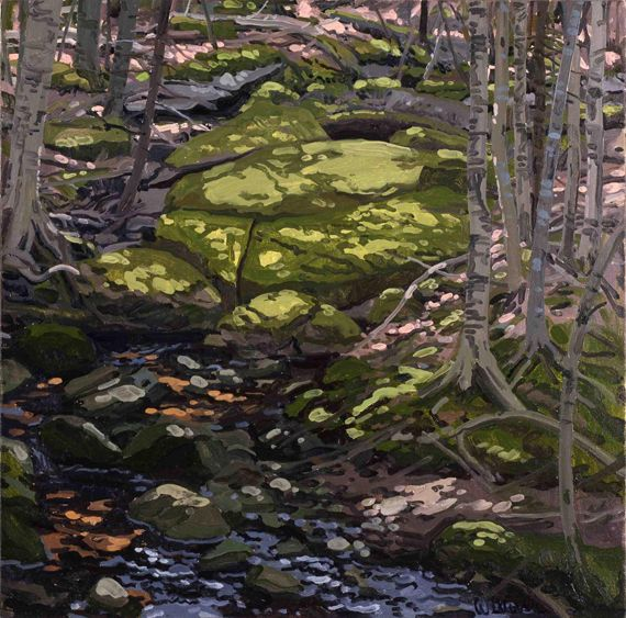 Light in Brook, Neil Welliver (1929-2005, American), Light in Brook, 1985, oil on canvas, 24 x 24 inches, Gift of Dorothy Stiles Blankfort, Class of 1931