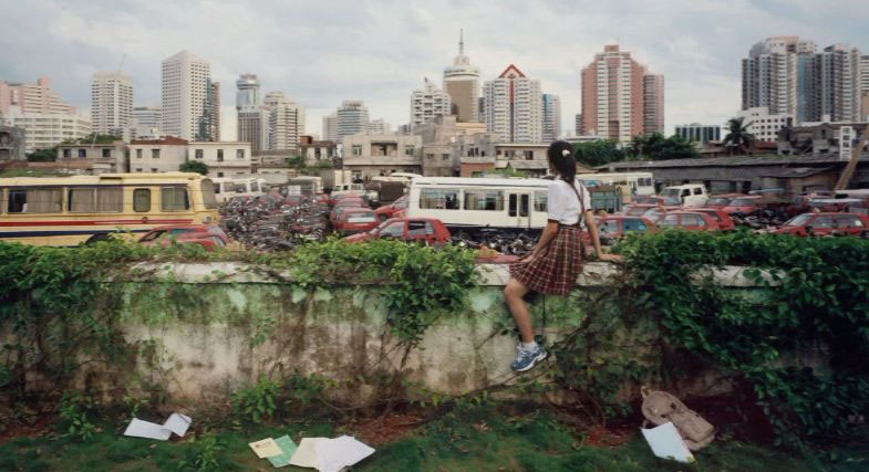 Weng Fen (born 1961, Chinese), On the Wall, Haikou 6, 2003, color photograph, edition. 8/10, 22 4/4 x 26 3/4 inches, Museum purchase                 2004.23.2, (note: Haikou is a city in China)