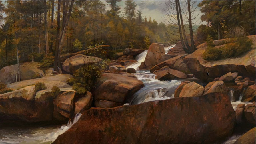 Falls on Nesowadnehunk Stream (Baxter State Park), 1999, Joel Babb, (born 1947, American), oil on paper, 20 x 32 1/4 inches, Gift of the Olivia and Ellwood Straub Endowment and the Berkshire Taconic Foundation, 2001.11.1
