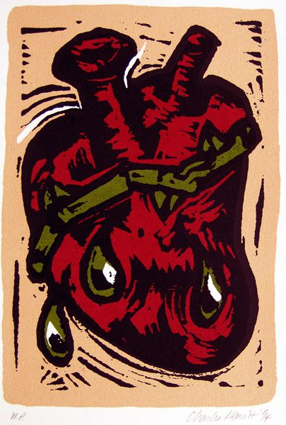 Untitled (Bleeding Heart), Charlie Hewitt (United States, 1946), woodcut, 8 ¼ x 5 ¾, Gift of Patricia Nick