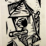 Untitled, Charlie Hewitt,, Linocut, 6x 3 ½, Museum Purchase