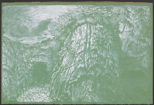 Island Cave, Hyman Bloom, (United States, 1913), white wash and pen on green paper, 11 ¼ x 17 ½, Gift of Dr. Elizabeth A. Gregory, 1937