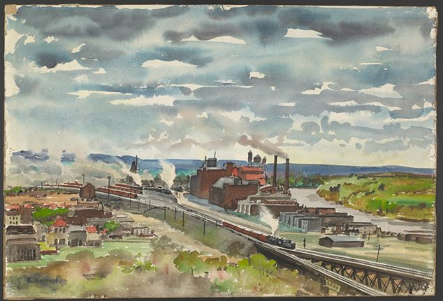 Industrial Landscape, Samuel Halbert, (1884-1930, United States), watercolor on paper, 14 x 21 inches, Gift of Janet Marqusee