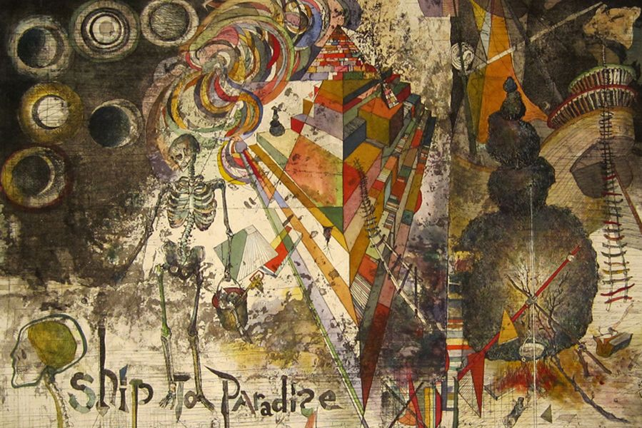 Ship to Paradise, 2012, Robert Neuman, etching with hand coloring, unique edition, 23 1/2 x 35 1/2 in, museum purchase with the Robert A. and Minna F. Johnson Fund, the Abraham and Bella Margolis Art Fund, and the Olivia and Ellwood Straub Endowment