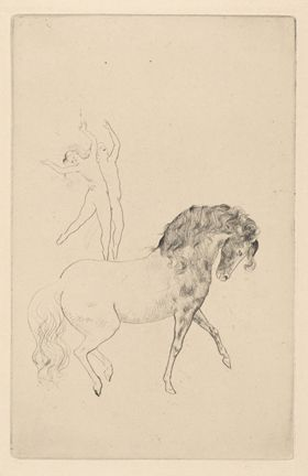 Au Cirque, Pablo Picasso (Spanish), black and white drypoint, 8 5/8 x 5 ½ inches, Gift of Caroline Pulsifer Ehrenfest, class of 1939