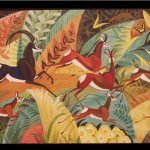 Dahlov Ipcar (born 1917,American), Sable Nyika, 1988, oil on canvas, 30 x 60 inches, Gift of the Artist, 1991.8.1