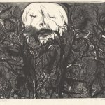 Death Among the Thistles,Leonard  Baskin, (1922-2000, American), wood engraving on tissue, ed 525, Gift of Arnold Smoller '51