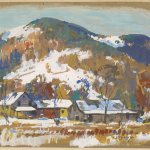 Dorset, Vermont 1947, Jay H. Connaway, (1893-1970, American) gouache, 7 5/8 x 7 3/8 inches, Gift of the Textile Arts Foundation
