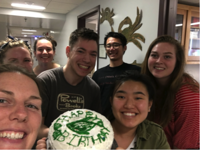 The lab with the cake (notice the zebrafish piped by Jake!)