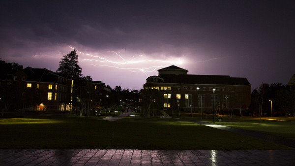 Students watch a lightning storm on September 11, 2013.